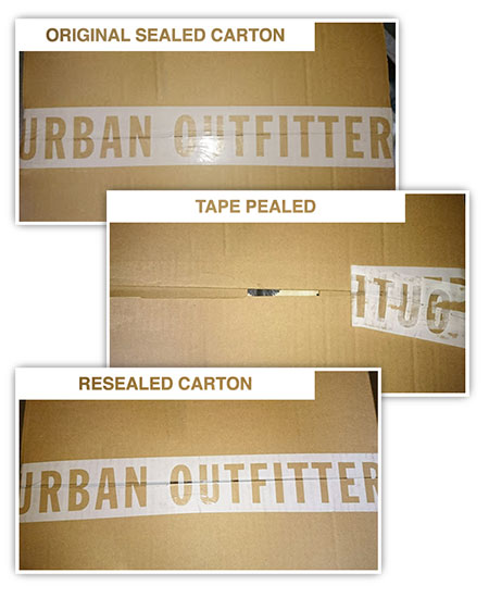 Example from Urban Outfitters of ineffective carton security tape